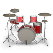 Red drum kit isolated on white background. High resolution 3d render — 图库照片