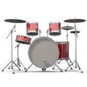 Red drum kit isolado no fundo branco. renderização 3d de alta resolução — Foto Stock