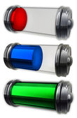 Three transparent batteries — Stock Photo