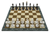 Composition with chessmen on glossy chessboard — Stockfoto