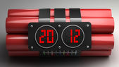 Explosives with alarm clock 2012 detonator — Stock Photo