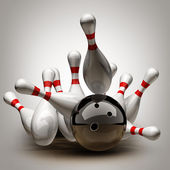 Bowling Ball crashing into the pins. — Stock Photo
