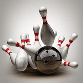 Bowling Ball crashing into the pins. — Stock Photo