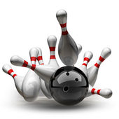 3d Bowling Ball crashing into the pins — Stock Photo