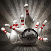 Boule de bowling s'écraser sur les broches sur fond vintage. — Photo