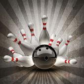 Palla da bowling si schianta i perni su sfondo d'epoca. — Foto Stock