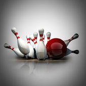 Bowling Ball crashing into the pins. High resolution 3d — Foto de Stock