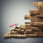 Conceito de construção civil. tijolo e espátula de metal. renderização 3d de alta resolução — Foto Stock