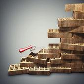 Koncepcja budynku i budowa. cegły i metalowe kielnia. render 3d w wysokiej rozdzielczości — Zdjęcie stockowe