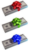 Packs of dollars decorated with color ribbon — Stock Photo