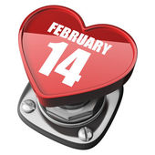 Corazón de botón 3d. el 14 de febrero. aislado sobre fondo blanco. — Foto de Stock