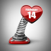 3d spring button heart february 14. — Stock Photo