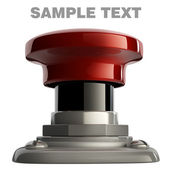 3d illustration of red button closeup isolated on white. — Stock Photo