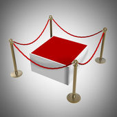 Barrier rope and red box High resolution 3D — Stock Photo