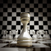 Closeup white chess rook background 3d illustration. — Photo