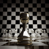 Closeup Black chess rook background 3d illustration — Stock Photo