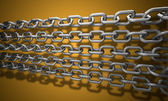 Chains on the orange background 3d abstract — Stock Photo