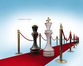 Roi et reine des échecs sur le tapis rouge isolé. rendu 3d — Photo