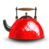 Red teapot isolated on white background. — Stock Photo