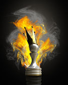 Burning Pawn in a golden crown 3d illustration. high resolution — Stock Photo