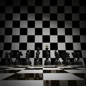 Black chess background 3d illustration. high resolution — Foto Stock