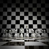 Witte schaken achtergrond 3d illustratie. hoge resolutie — Stockfoto