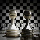 Black vs wihte chess rook background 3d illustration. high resolution — Stock Photo