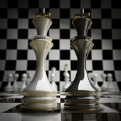 Ajedrez wihte vs negro rey ilustración 3d fondo. alta resolución — Foto de Stock