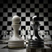 Black vs wihte chess pawn background 3d illustration. high resolution — Stock Photo