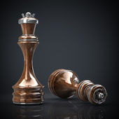 Chess queen wooden High resolution. 3D image — Stock Photo