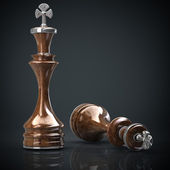 Schaken koning houten hoge resolutie. 3d-beeld — Stockfoto