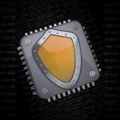 Processoreenheid cpu met blauwe veiligheid schild concept — Stockfoto