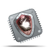 Processor unit CPU with Broken security shield concept — Stock Photo