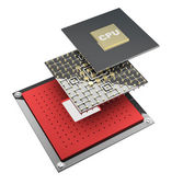 Computer microchip CPU disassembled. — Stock Photo