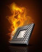 火の高解像度の 3 d イラストレーションで cpu — ストック写真