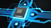 Central Processing Unit. (microchip) Concept of technology background. — Foto de Stock