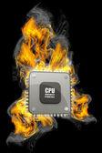 Burning Processor. 3d Illustration isolated on black background. — Stock Photo