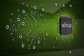 电路 board.virus 高分辨率 3d 数字生成的图像 — 图库照片