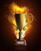 Golden trophy in Fire high resolution 3d illustration — Stock Photo