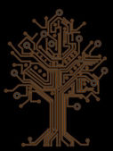 Circuit board tree background 3d illustration. high resolution — Stock Photo
