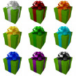 Collection green gift boxes with color ribbon and bows — Stock Photo #20321561