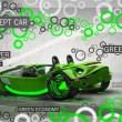 Green hybrid CONCEPT car on abstract background. — Stock Photo