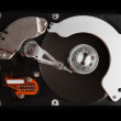 Close up of hard disk isolated on black background High reolution — Stock Photo