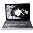 Big laptop with broken screen — Stock Photo #20323063