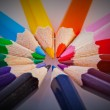 Color pencils in arrange in color wheel colors — Stock Photo