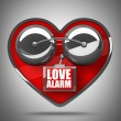 Concept. LOVE alarm Red alarm bell heart shape. — Stock Photo #20325589