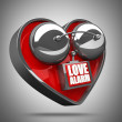 Concept. LOVE alarm Red alarm bell heart shape. — Stock Photo #20325597