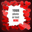 Decorative frame. Cute red hearts copy space photo border. — Stock Photo #20325637