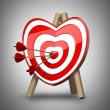 Red heart target aim with arrows. - Stock Photo
