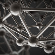 3D rendered silver glossy molecules structure - Stock Photo
